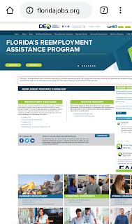 Florida Reemployment Assistance Program Website on mobile