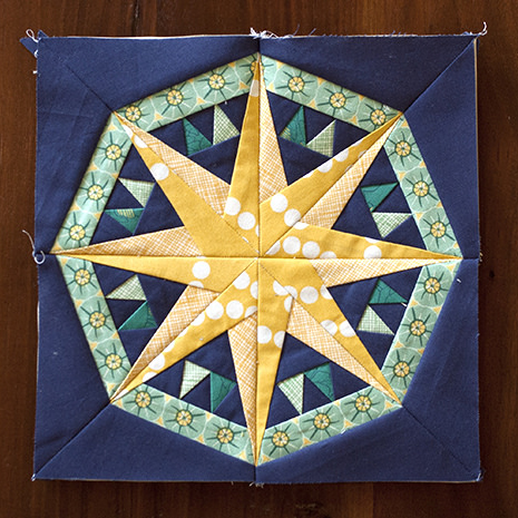 Mariner's Compass Quilt Block Free Pattern designed by Daisy of Ants to Sugar