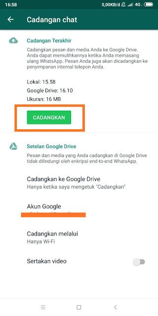 Cara Backup Chat Whatsapp ke Google Drive