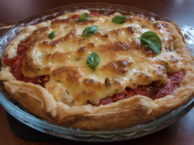 Southern Tomato Pie with Parm Cheese.
