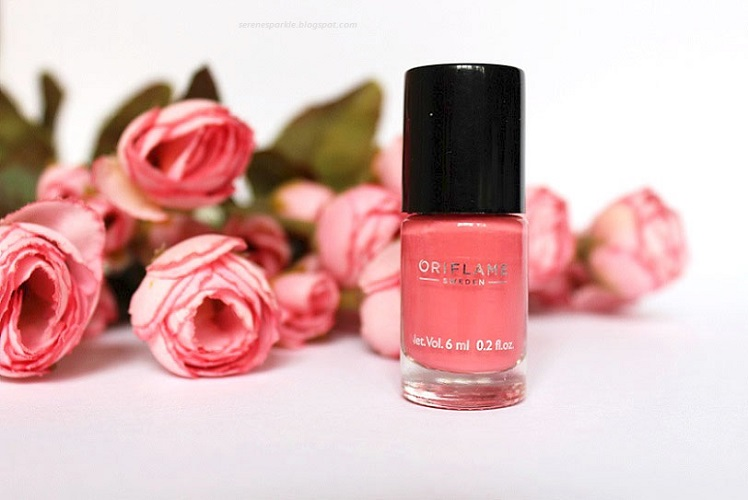 Oriflame Pure Colour Pink Crush Nail Polish Review Notd Serene Sparkle