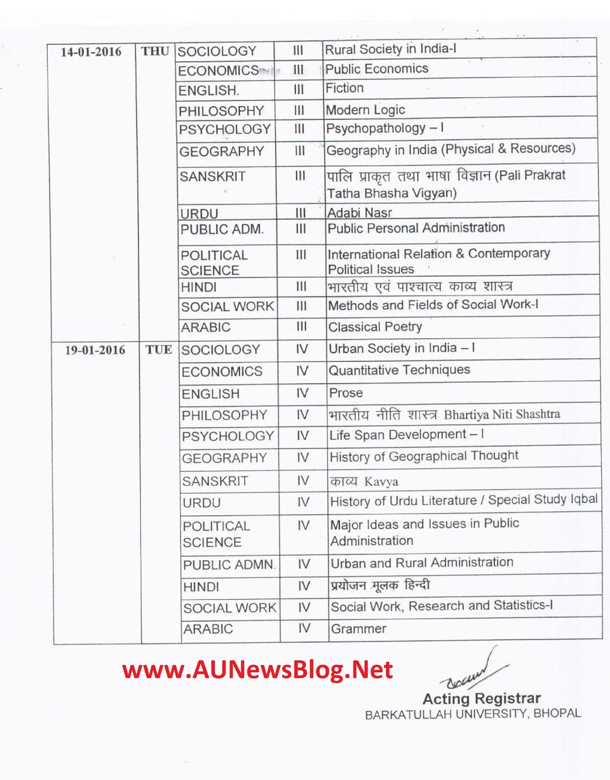 Barkatullah university pg exams time table january 2016 for Bu time table 6th sem