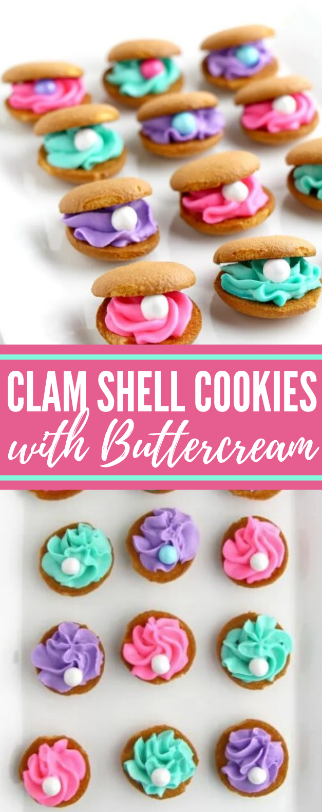 CLAM SHELL COOKIES WITH BUTTERCREAM #desserts #mermaid #cookies #buttercream #sweets