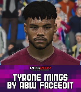 PES 2017 Faces Tyrone Mings by ABW_FaceEdit