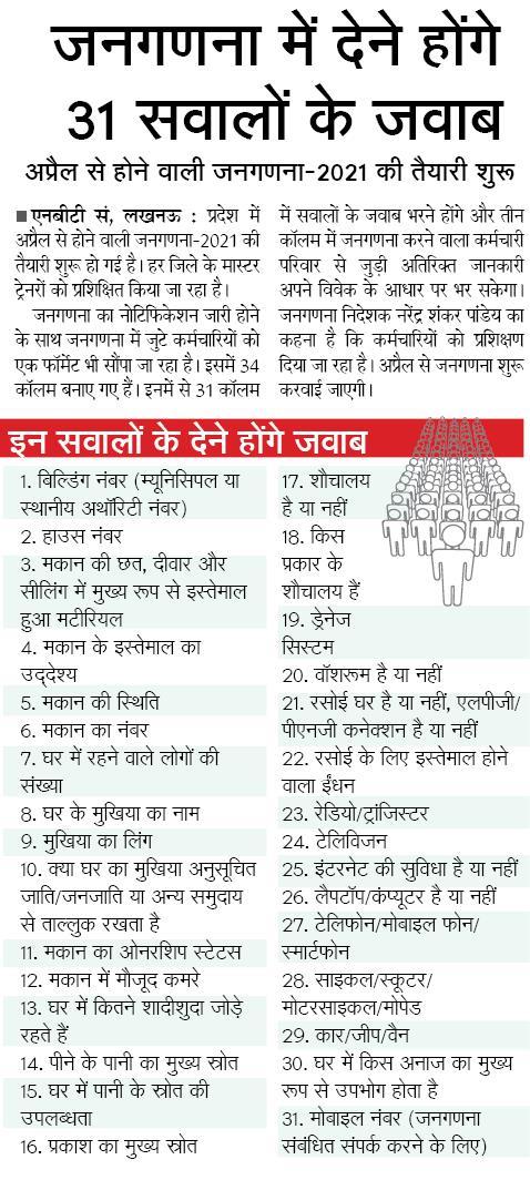 जनगणना में देने होंगे 31 सवालों के जवाब, अप्रैल से होने वाली जनगणना-2021 की तैयारी शुरू
