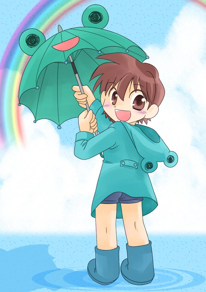 梅雨と虹とカエル雨具の半ズボンの男の子。