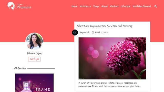 Шаблон для женского сайта - блога 2020