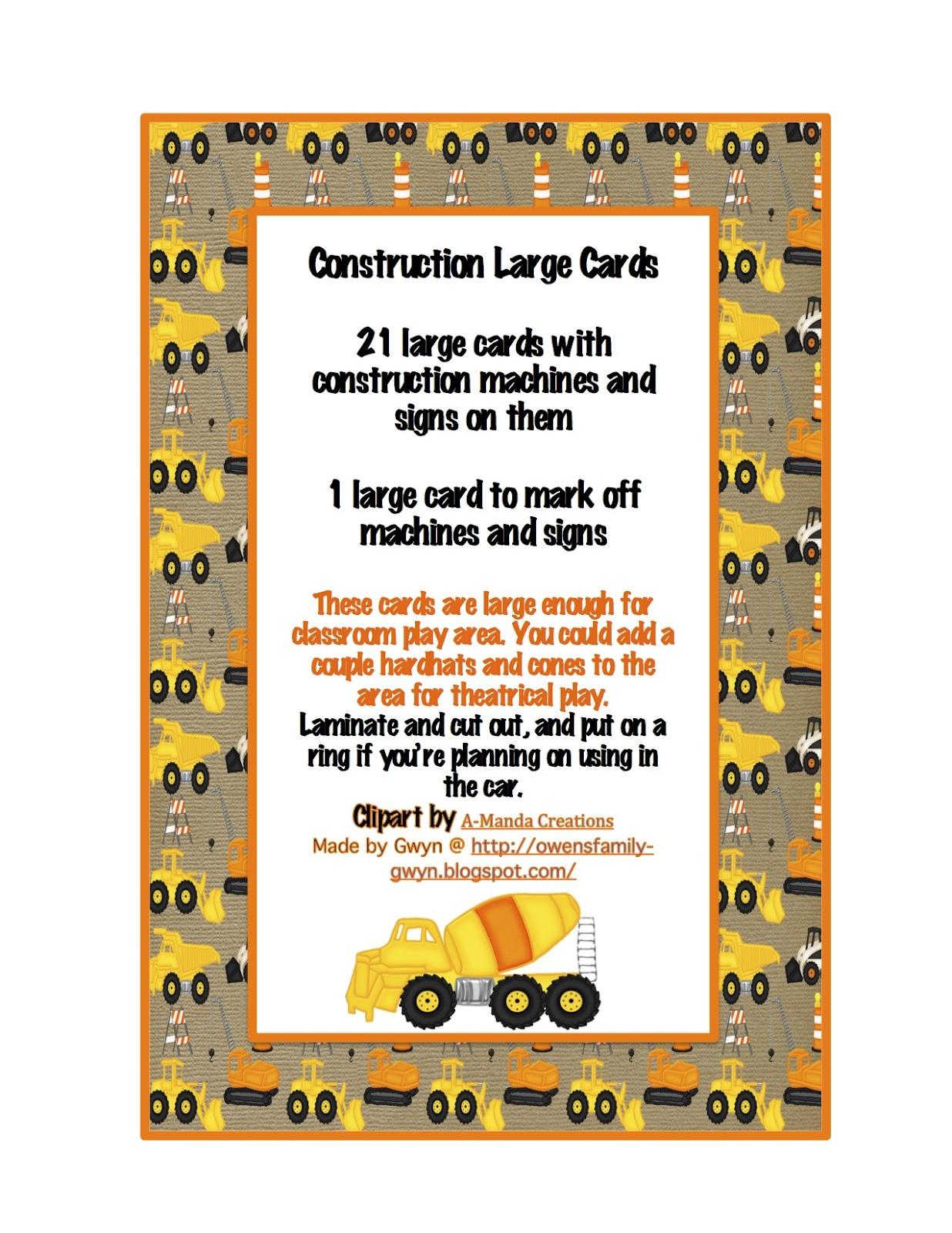 Construction Machines Large Cards Preschool Printables