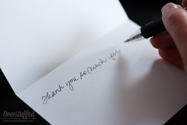 Writing and Organizing Thank You Cards - Overstuffed - Thank You Note