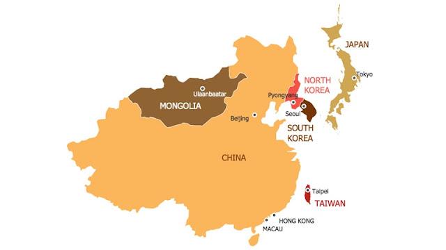 Peta Asia Timur Beserta Negaranya