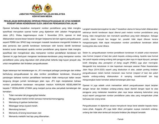 Penjelasan JPJ Berkaitan Operasi Saman Nombor Pendaftaran Kenderaan