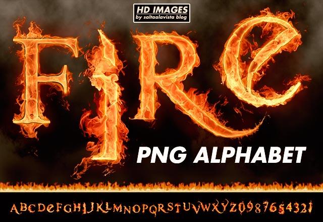 Descargar Gratis Alfabeto Completo de Fuego en PNG - Imágenes HD