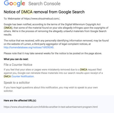 Notice of DMCA removal from Google Search