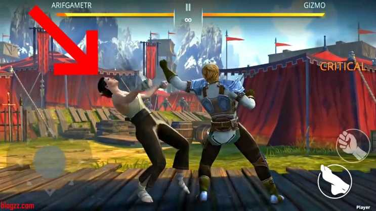 Shadow Fight'da eğilerek yapılan vuruşlar çok daha can azaltmaktadır.