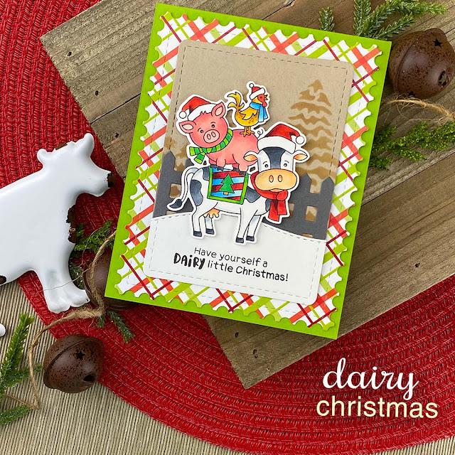 Farm Animals Christmas Card by Jennifer Jackson | Dairy Christmas Stamp Set, Evergreens Stencil, Fence Die Set, Land Borders Die Set and Framework Die Set by Newton's Nook Designs