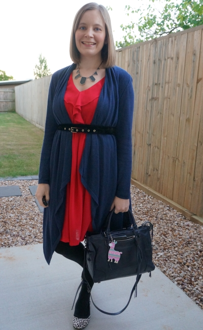 navy waterfall cardigan belted over berry ruffle dress leopard print flats regan satchel bag winter office outfit | away from blue