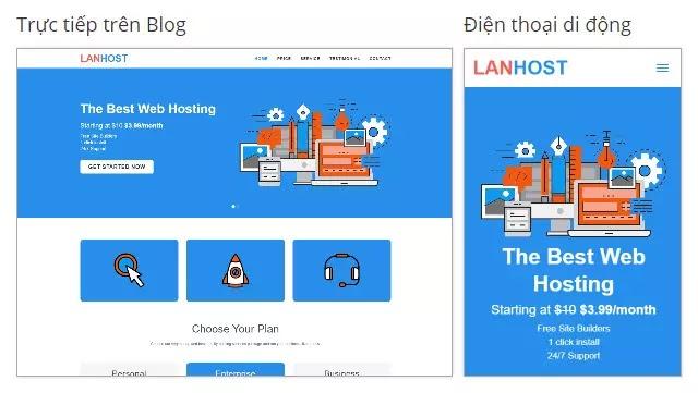 Chia sẻ miễn phí theme blogspot landing page dịch vụ Lanhost