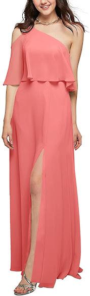 Beautiful Coral Chiffon Bridesmaid Dresses