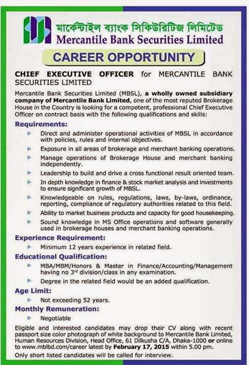 Mercantile Bank Securities Ltd Chief Executive Officer Job Circular