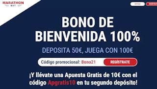 10 euros gratis + 50 Bono de Bienvenida Marathonbet