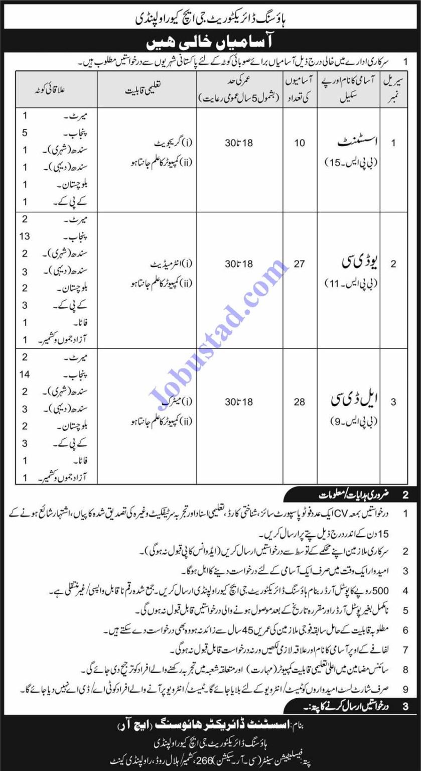 Jobs in Pakistan Army Housing Directorate GHQ Rawalpindi 2020