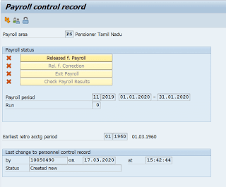 How to change control record of SAP payroll in post offices