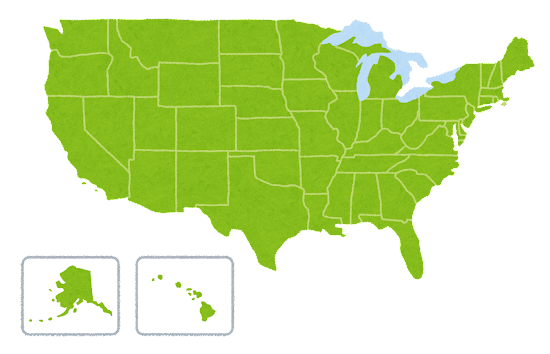 アメリカ合衆国の地図のイラスト(州分け)