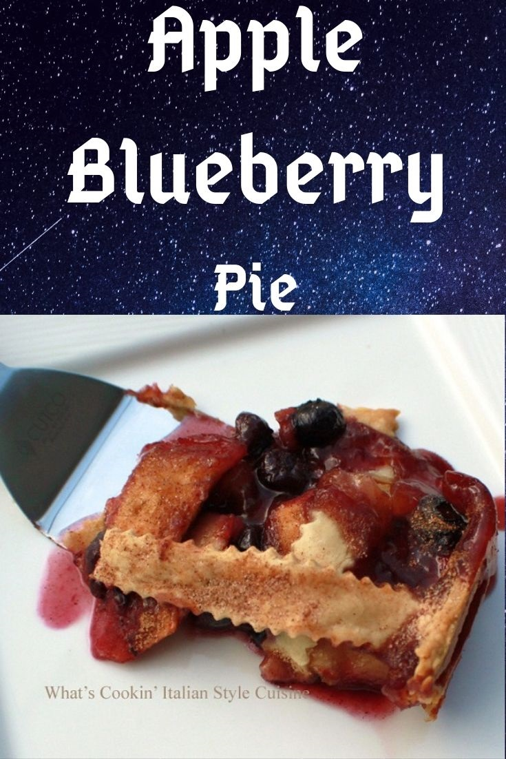pin for later apple blueberry pie photo