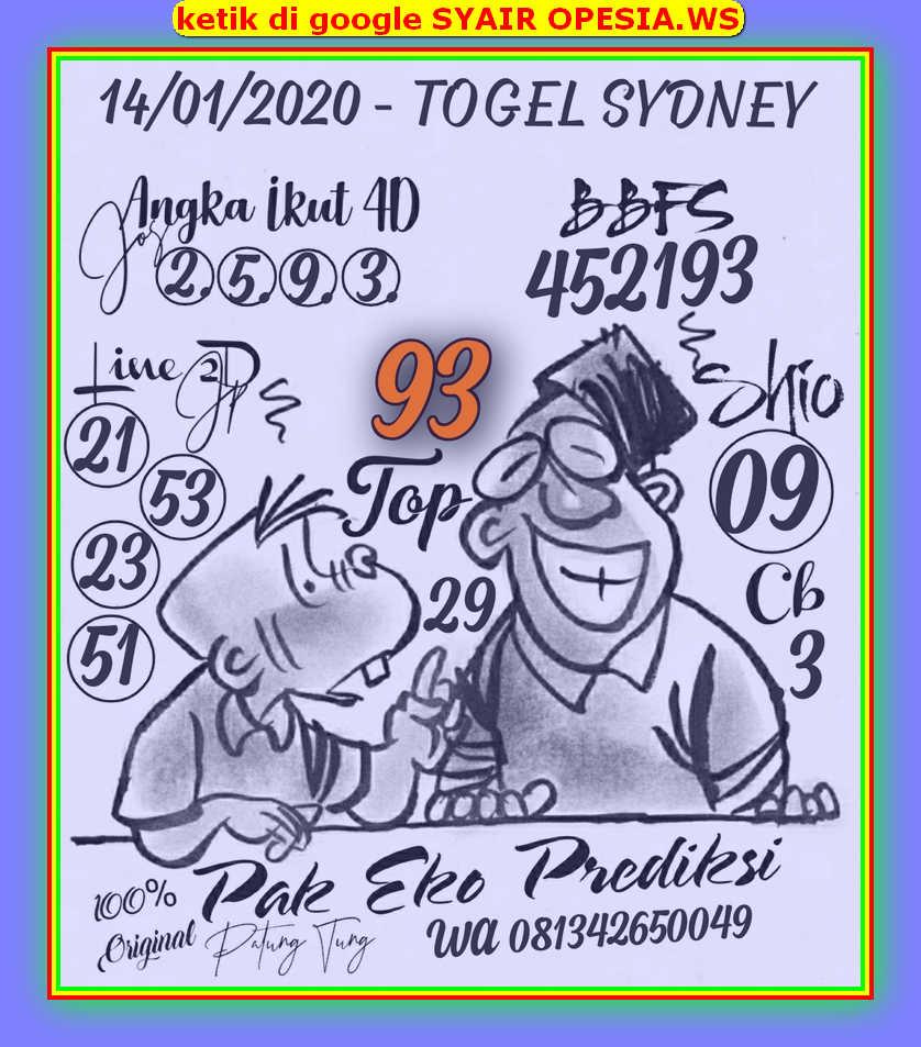 Kode syair Sydney Selasa 14 Januari 2020 21