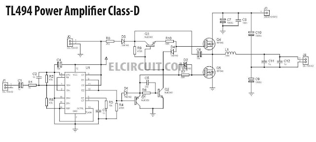 TL494 Power Amplifier Class-D SMPS Audio PWM to Audio