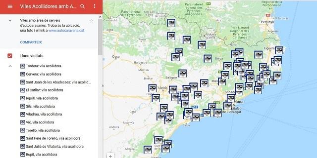 Mapa d'àrees d'autocaravanes de Catalunya