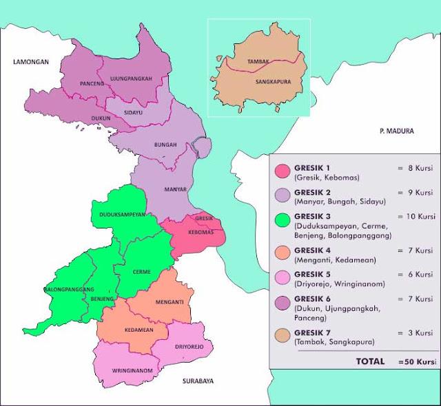 Gambar Peta Kecamatan Kabupaten Gresik ukuran HD