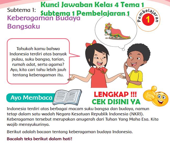 Lengkap Kunci Jawaban Kelas 4 Tema 1 Subtema 1 Pembelajaran 1 Jawaban Tematik Terbaru