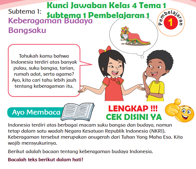 Lengkap Kunci Jawaban Kelas 4 Tema 1 Subtema 1 Pembelajaran 1 Kunci Jawaban Tematik Lengkap Terbaru Simplenews