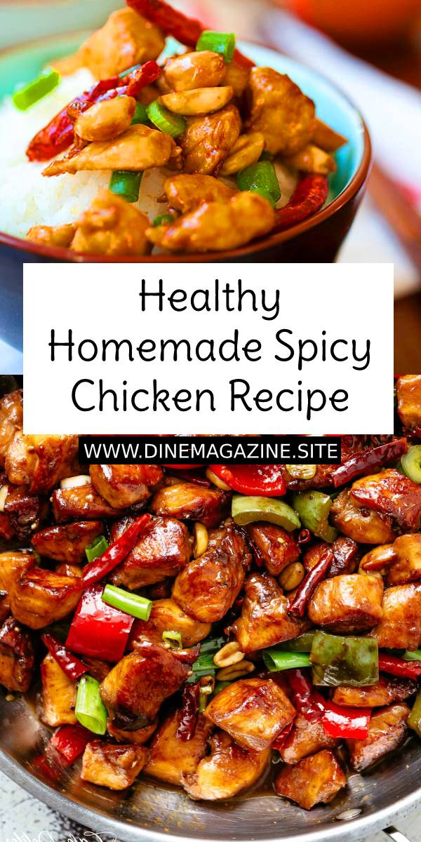 Healthy Homemade Spicy Chicken is a Chinese takeout classic loaded with spicy chicken, peanuts, vegetables in a mouthwatering homemade sauce. This easy homemade recipe is healthy, low in calories and much better than takeout. #chickenrecipe #healthydinnerrecipe #healthydinner #easychickenrecipe #easydinnerrecipe #asianrecipe #chineserecipe #spicy #spicychicken #spicyrecipe #homemaderecipe #homemade #vegan