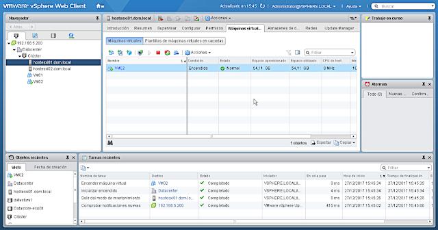 VMware 6.5.0 PowerCLI: Apagar servidor host - visión del entorno.