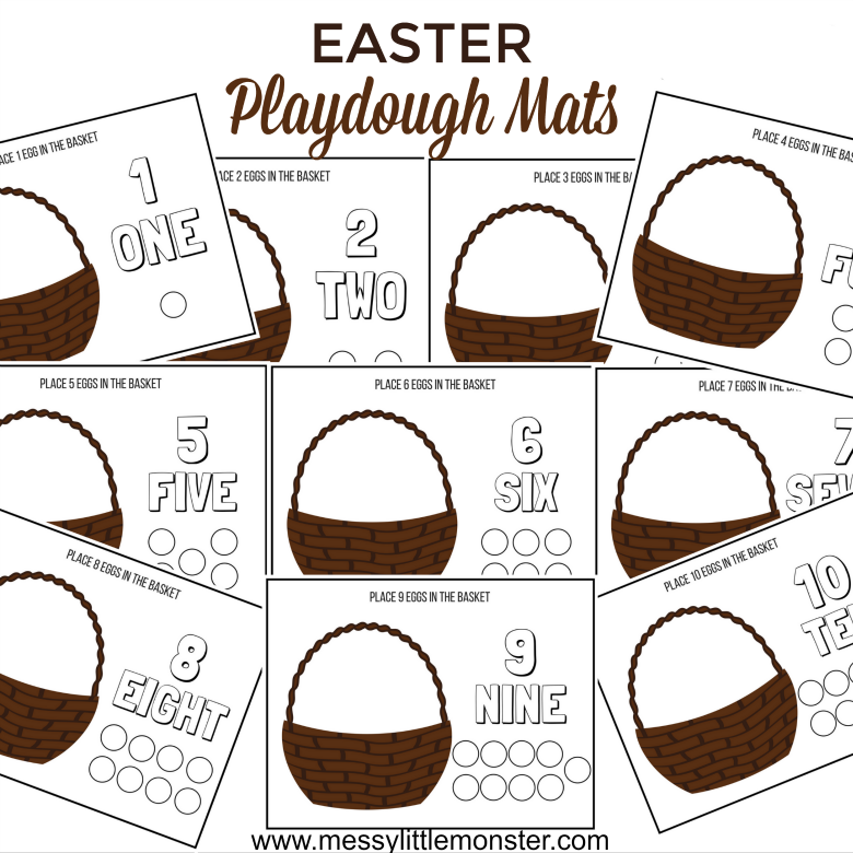 A set of 10 printable Easter playdough counting mats for toddlers and preschoolers.  Help chidren learn through play with this fun hands on number activity where they count the correct number of Easter eggs into an easter basket. Download for free.