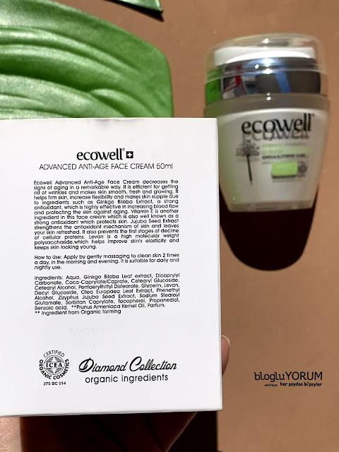 ecowell diamond advanced anti age ginkgo face crem organik yüz kremi içerik