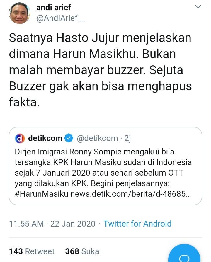 Andi Arief 'Semprot' Hasto PDIP: Sejuta Buzzer Gak Bisa Hapus Fakta!