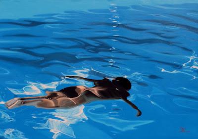peinture, nager nu, beauté, piscine, matière, esprit, garçon nu, haruki murakami, lumière, soleil, reflet, transcendance