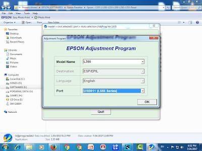 Epson L555 Resetter
