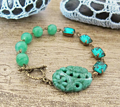image zelena bracelet asymmetry range asymmetrical two cheeky monkeys vintage glass cabochon emerald green glass jewels