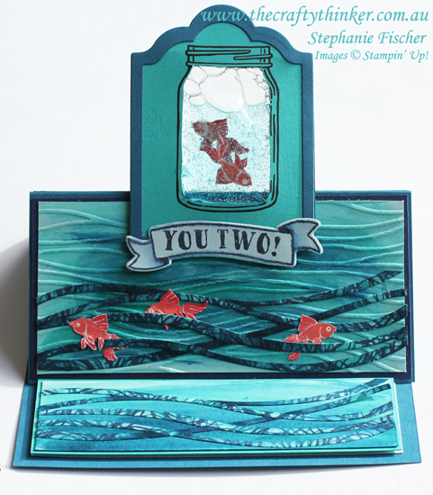Stampin Up, #thecraftythinker, Jar of Love, Gel Card, Easel Card, Fun Fold, seaside card, Stampin Up Australia Demonstrator