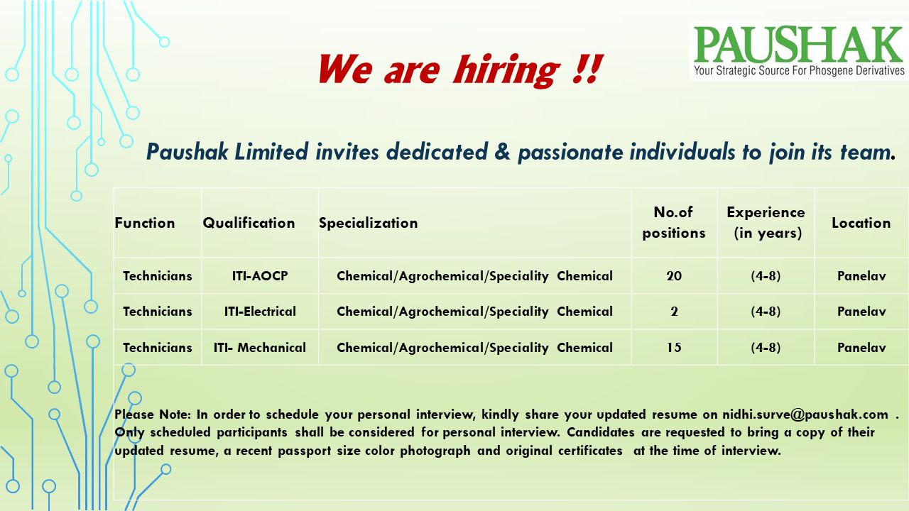 ITI Jobs Vacancy in Paushak Limited, Chemical Manufacturing Company in Panelav, Gujarat
