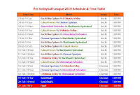 Pro Volleyball League 2019 Schedule & Time Table,  Volleyball League 2019 Schedule, 2019 volleyball schedule, Volleyball League 2019 fixture, Volleyball League 2019 all team player list, volleyball 2019 time place, venue, match time, world volleyball 2019, Kochi Blue Spikers, U Mumba Volley, Calicut Heroes, Chennai Spartans, Ahmedabad Defenders, Blackhawks Hyderabad, Rupay Pro Volleyball League 2019, Volleyball 2019 full schedule, kochi time, Chennai time, Volleyball 2019 all teams   Pro Volleyball League 2019 Schedule & Time Table #ProVolleyballLeague2019 #VolleyballSchedule  Teams: Kochi Blue Spikers, U Mumba Volley, Calicut Heroes, Chennai Spartans, Ahmedabad Defenders, Blackhawks Hyderabad