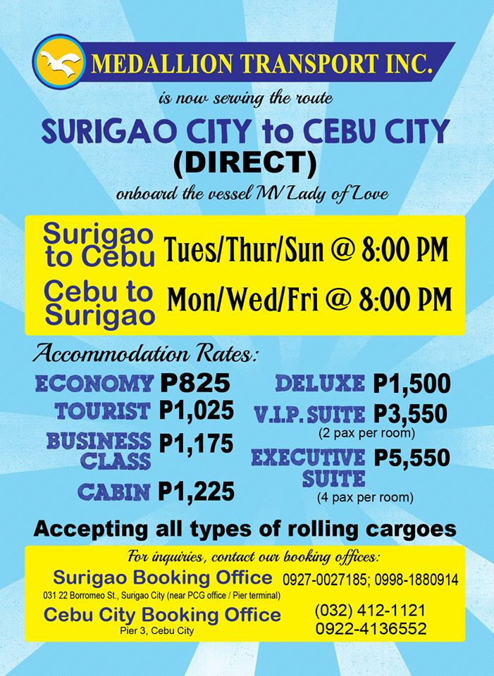 Medallion Transport Inc. Ferry Schedule Between Surigao and Cebu
