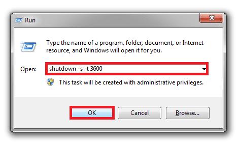 Nhấn tổ hợp Windows + R sau đó gõ lệnh shutdown -s -t 3600 và chọn OK