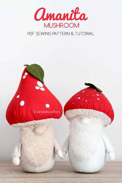 "two Christmas gnomes with red mushroom hats ""Amanita Muscaria"" by sewing patterns of Zatinatskaya Natalia"