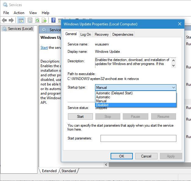 Windows Update Properties Windows 10