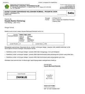 Surat Ajuan Dispensasi (S40a) di simpatika